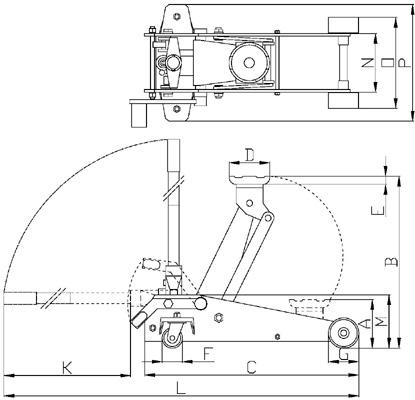 Домкрат подкатной T83502, 3,5 т - схема
