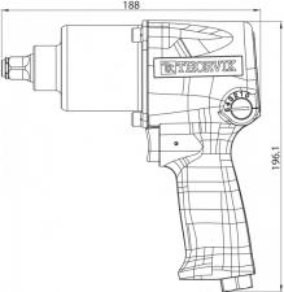 "AIW1261 Гайковерт пневматический  1/2""DR 7000 об/мин,  610 Nm"