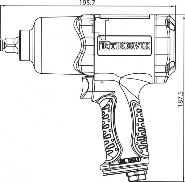 "AIW1268 Гайковерт пневматический  1/2""DR 7500 об/мин,  680 Nm"