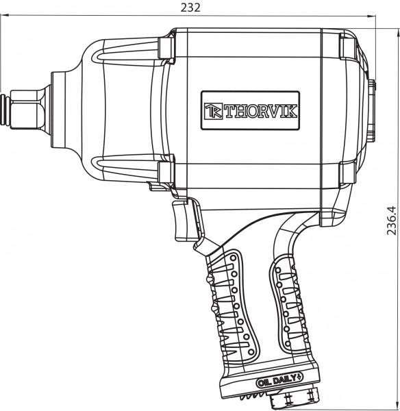 "AIW3416 Гайковерт пневматический  3/4""DR 4500об/мин,  1600 Nm"