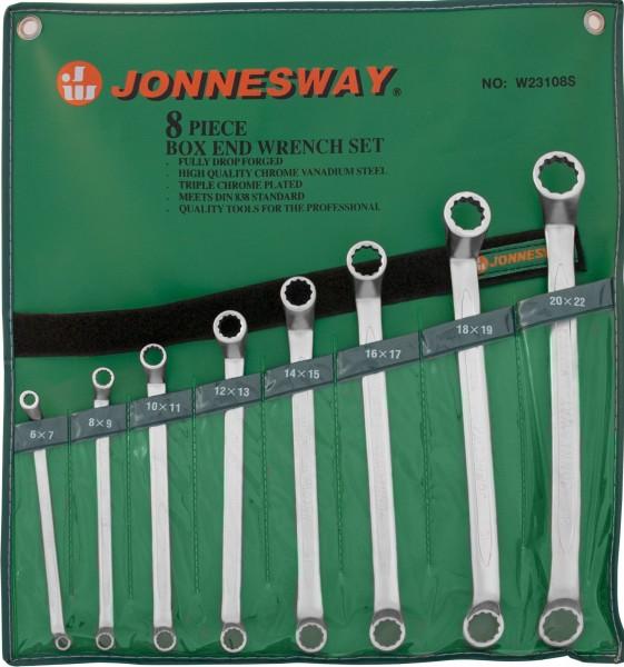JonnesWay W23108S Набор ключей гаечных накидных изогнутых 75° в сумке, 6-22 мм, 8 предметов