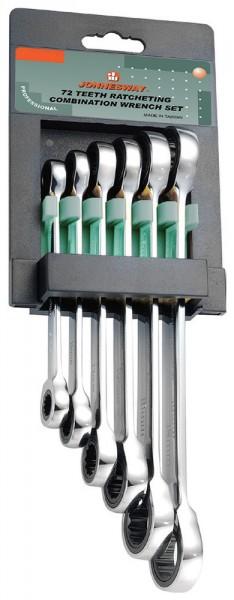 JonnesWay W68106S Набор ключей гаечных накидных трещоточных на держателе, 8-19 мм, 6 предметов