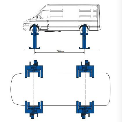 Подъемник четырехстоечный электромеханический ДАРЗ П14-14