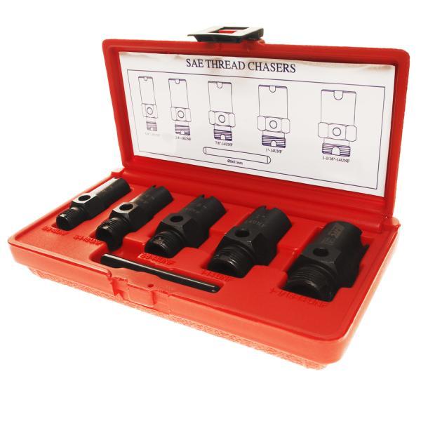 JTC Набор инструментов для восстановления резьбы штуцеров систем кондиционирования 6 предметов JTC