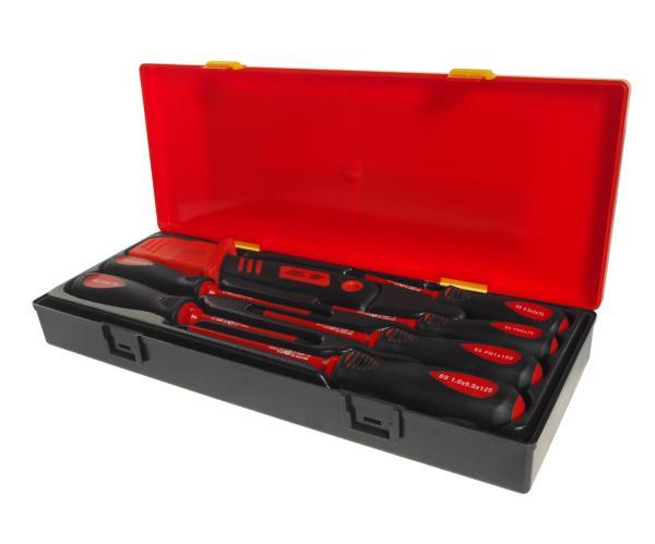 JTC Набор отверток SL 3-SL5.5, PH0-PH2 диэлектрических с ножом 7 предметов JTC