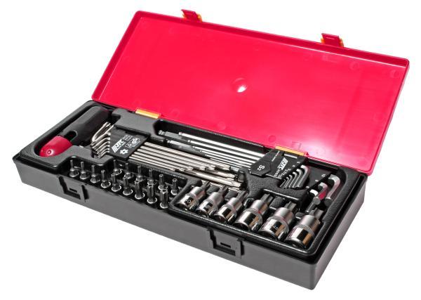 JTC Набор инструментов 40 предметов TORX, HEX (ключи, головки) в кейсе JTC