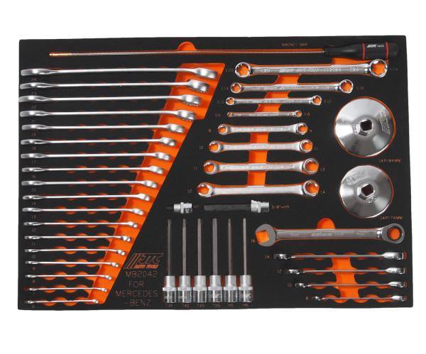 JTC Набор инструментов 42 предмета слесарно-монтажный (MERCEDES) в ложементе JTC