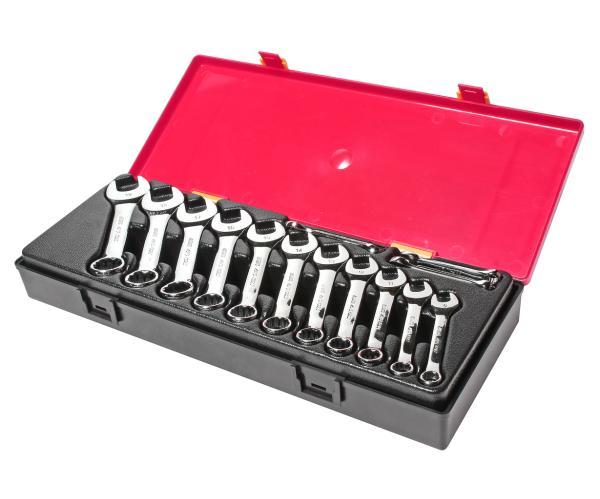JTC Набор ключей комбинированных 6-19мм 14 предметов в кейсе изгиб 15град. укороченные JTC