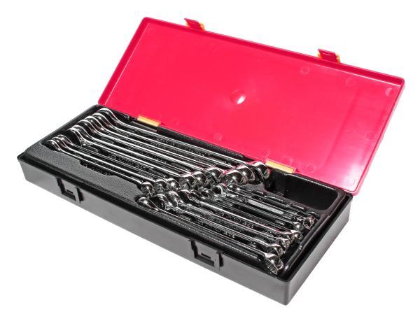 JTC Набор ключей комбинированных 6-23мм 17 предметов в кейсе изгиб 15град. с зеркальной полировкой JTC