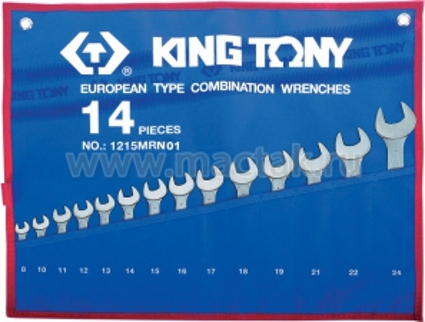 Набор комбинированных ключей, 8-24 мм, чехол из теторона, 14 предметов KING TONY 1215MRN01