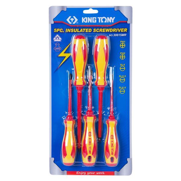 Набор отверток в коробке, диэлектрические, 5 предметов  KING TONY 30615MR