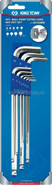 Набор Г-образных шестигранников 1,5-10 мм, с шаровым окончанием, 9 предметов KING TONY 20109MR
