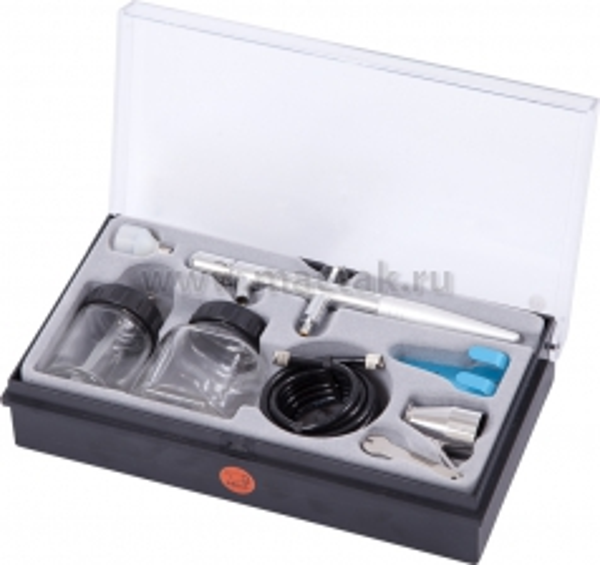 Аэрограф, сопло 0,3 мм, верхний бачок, комплект принадлежностей, 8 предметов МАСТАК 678-108